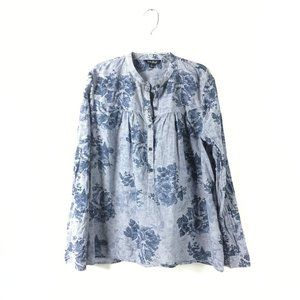 Lucky Brand Henley Button Down Blouse Top Floral